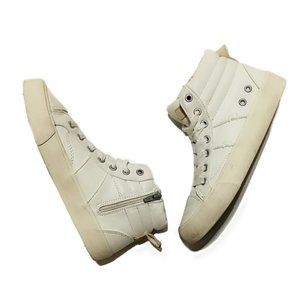 Zara White  Leather High-Top Sneakers